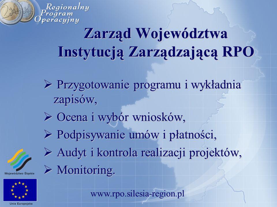www.rpo.silesia-region.pl Zarząd Województwa Instytucją Zarządzającą RPO Przygotowanie programu i wykładnia zapisów, Przygotowanie programu i wykładni