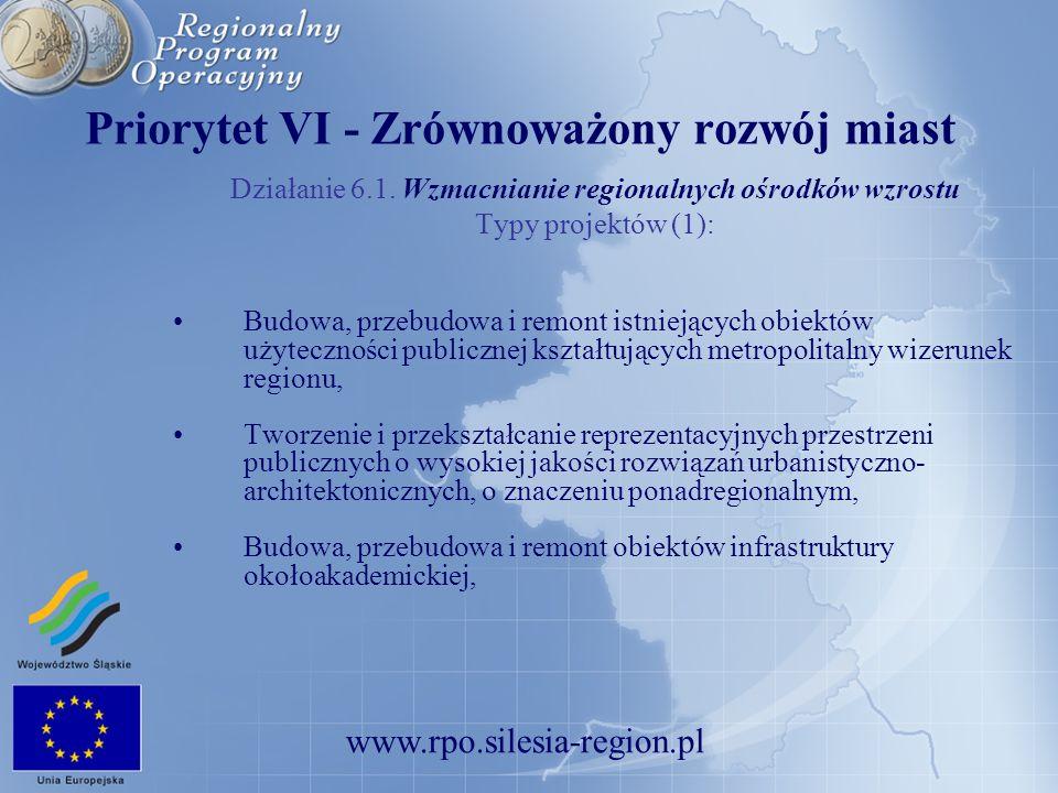www.rpo.silesia-region.pl Priorytet VI - Zrównoważony rozwój miast Działanie 6.1. Wzmacnianie regionalnych ośrodków wzrostu Typy projektów (1): Budowa