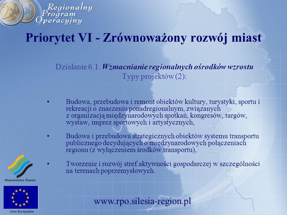www.rpo.silesia-region.pl Priorytet VI - Zrównoważony rozwój miast Działanie 6.1. Wzmacnianie regionalnych ośrodków wzrostu Typy projektów (2): Budowa