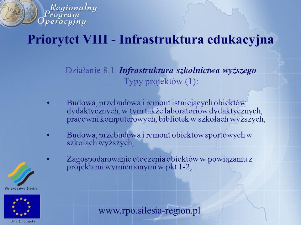 www.rpo.silesia-region.pl Priorytet VIII - Infrastruktura edukacyjna Działanie 8.1. Infrastruktura szkolnictwa wyższego Typy projektów (1): Budowa, pr