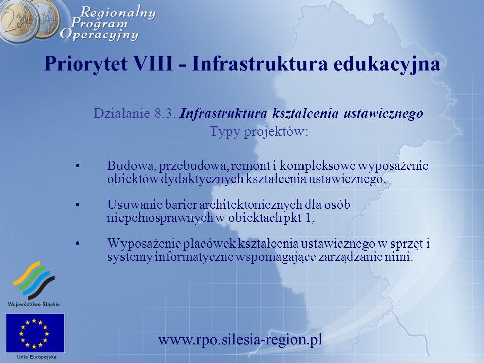 www.rpo.silesia-region.pl Priorytet VIII - Infrastruktura edukacyjna Działanie 8.3. Infrastruktura kształcenia ustawicznego Typy projektów: Budowa, pr