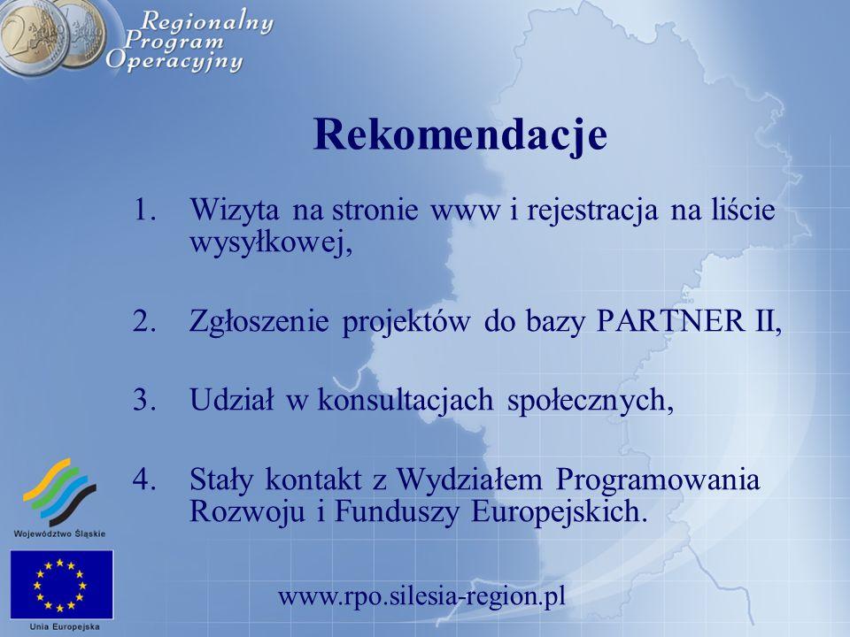www.rpo.silesia-region.pl Rekomendacje 1.Wizyta na stronie www i rejestracja na liście wysyłkowej, 2.Zgłoszenie projektów do bazy PARTNER II, 3.Udział
