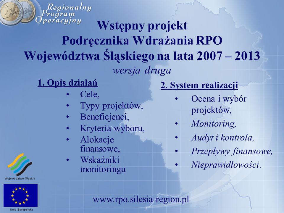www.rpo.silesia-region.pl Wstępny projekt Podręcznika Wdrażania RPO Województwa Śląskiego na lata 2007 – 2013 wersja druga 1. Opis działań Cele, Typy