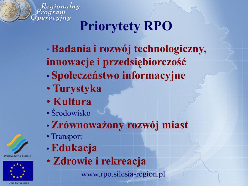 www.rpo.silesia-region.pl Priorytet I – Badania i rozwój technologiczny, innowacje i przedsiębiorczość Poddziałanie 1.2.2 – Małe i Średnie Przedsiębiorstwa Typy projektów (2): Dofinansowanie udziału przedsiębiorców w targach i wystawach międzynarodowych oraz misjach gospodarczych związanych z targami i wystawami za granicą Usługi doradcze w zakresie projektowania, wdrażania i doskonalenia: nowego produktu lub usługi, planów marketingowych, strategii rozwoju firmy, systemów zarządzania jakością, zarządzania środowiskiem, BHP oraz w zakresie certyfikacji wyrobów, usług, surowców, maszyn i urządzeń, aparatury kontrolno – pomiarowej i kwalifikacji personelu, Usługi doradcze w zakresie podejmowania i rozwijania działalności eksportowej, Usługi doradcze dotyczące połączeń dokonujących się pomiędzy małymi i średnimi przedsiębiorstwami.