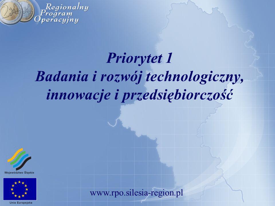 www.rpo.silesia-region.pl Priorytet I – Badania i rozwój technologiczny, innowacje i przedsiębiorczość Działania ALOKACJA (mln EUR) % ALOKACJI 1.1.