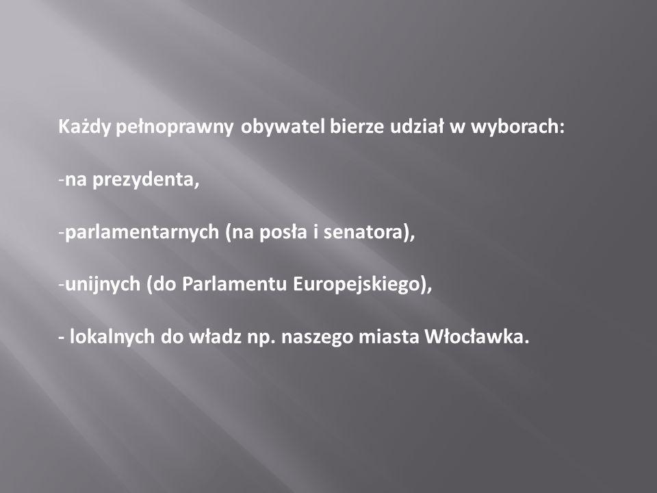 Każdy pełnoprawny obywatel bierze udział w wyborach: -na prezydenta, -parlamentarnych (na posła i senatora), -unijnych (do Parlamentu Europejskiego),