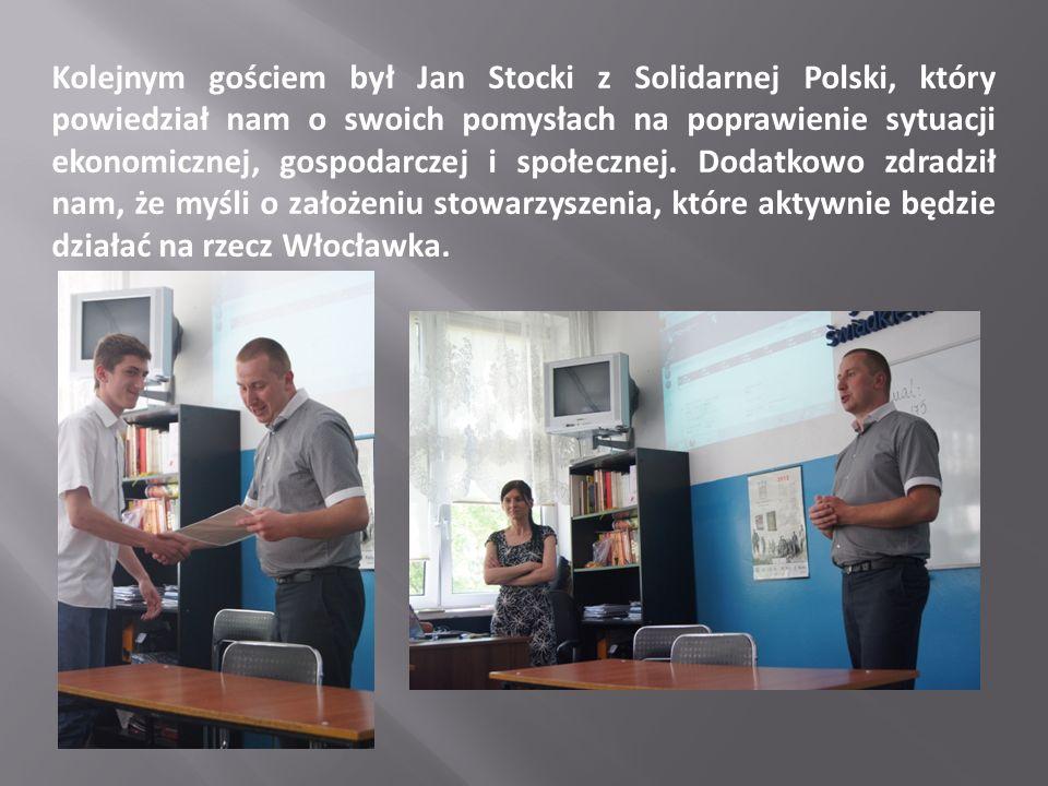 Kolejnym gościem był Jan Stocki z Solidarnej Polski, który powiedział nam o swoich pomysłach na poprawienie sytuacji ekonomicznej, gospodarczej i społ