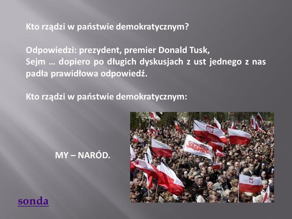 Kto rządzi w państwie demokratycznym? Odpowiedzi: prezydent, premier Donald Tusk, Sejm … dopiero po długich dyskusjach z ust jednego z nas padła prawi
