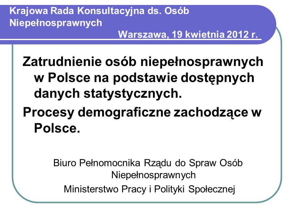 Krajowa Rada Konsultacyjna ds. Osób Niepełnosprawnych Warszawa, 19 kwietnia 2012 r. Zatrudnienie osób niepełnosprawnych w Polsce na podstawie dostępny