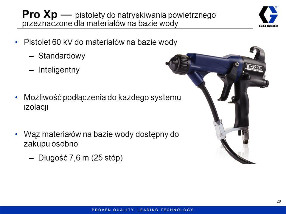 Pro Xp pistolety do natryskiwania powietrznego przeznaczone dla materiałów na bazie wody Pistolet 60 kV do materiałów na bazie wody –Standardowy –Inte