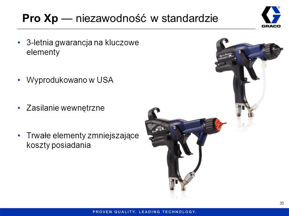 Pro Xp niezawodność w standardzie 3-letnia gwarancja na kluczowe elementy Wyprodukowano w USA Zasilanie wewnętrzne Trwałe elementy zmniejszające koszt