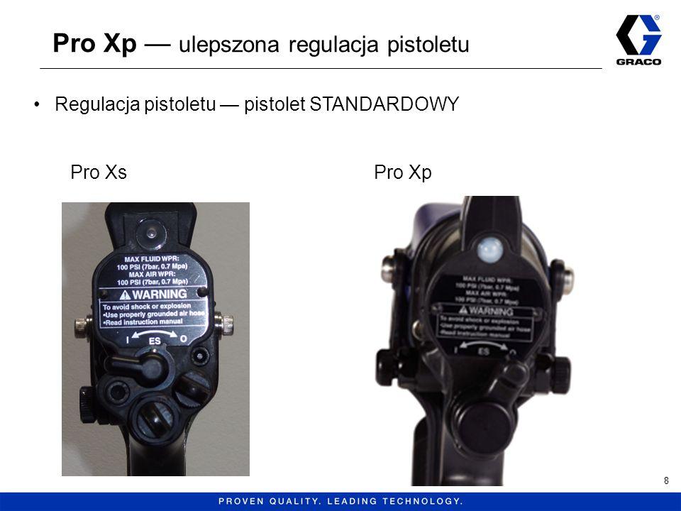 Pro Xp ulepszona regulacja pistoletu 9 Regulacja pistoletu pistolet STANDARDOWY Pokrętło regulacji powietrza strumienia Pokrętło regulacji powietrza rozpylania Pokrętło regulacji wydajności (tylko natrysk powietrzny) Przełącznik natrysku elektrostatycznego