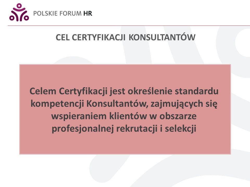 CEL CERTYFIKACJI KONSULTANTÓW Celem Certyfikacji jest określenie standardu kompetencji Konsultantów, zajmujących się wspieraniem klientów w obszarze profesjonalnej rekrutacji i selekcji