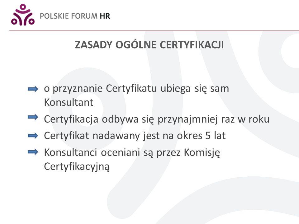ZASADY OGÓLNE CERTYFIKACJI o przyznanie Certyfikatu ubiega się sam Konsultant Certyfikacja odbywa się przynajmniej raz w roku Certyfikat nadawany jest na okres 5 lat Konsultanci oceniani są przez Komisję Certyfikacyjną