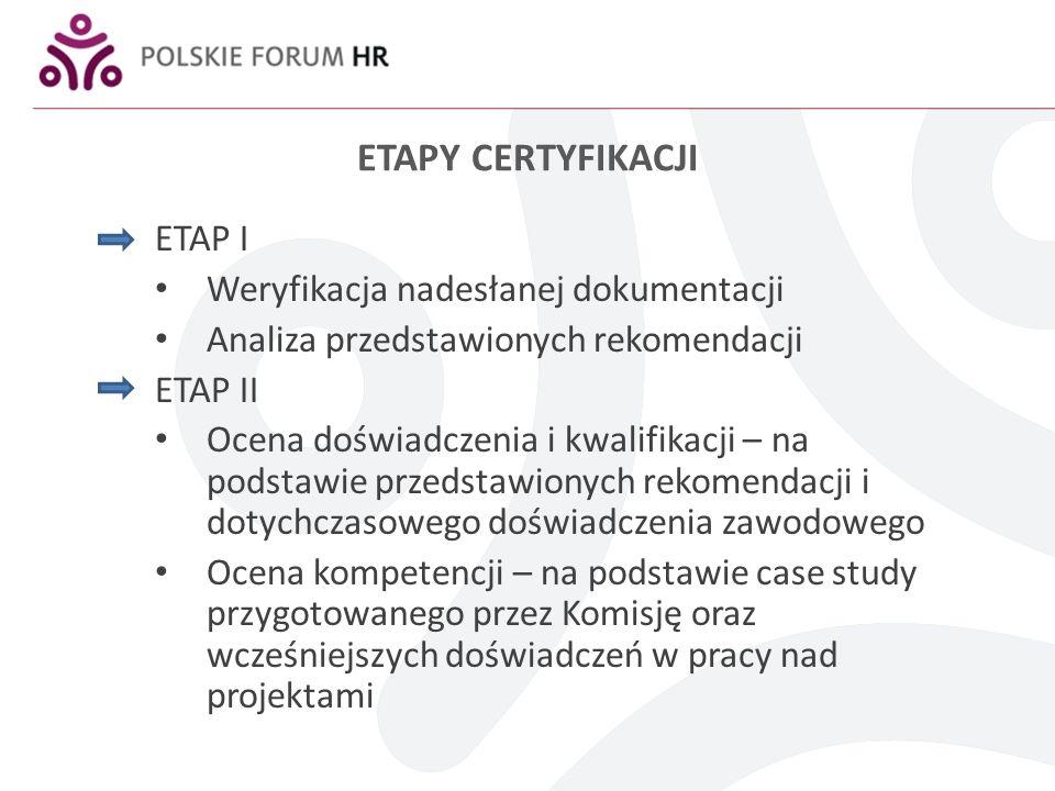 ETAPY CERTYFIKACJI ETAP I Weryfikacja nadesłanej dokumentacji Analiza przedstawionych rekomendacji ETAP II Ocena doświadczenia i kwalifikacji – na podstawie przedstawionych rekomendacji i dotychczasowego doświadczenia zawodowego Ocena kompetencji – na podstawie case study przygotowanego przez Komisję oraz wcześniejszych doświadczeń w pracy nad projektami