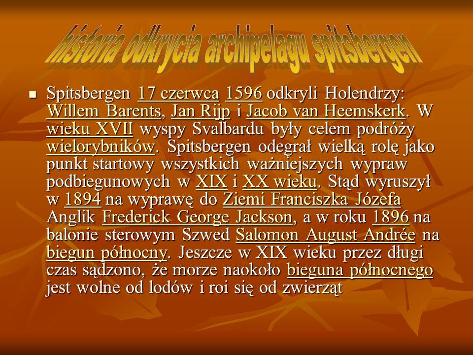 Spitsbergen 17 czerwca 1596 odkryli Holendrzy: Willem Barents, Jan Rijp i Jacob van Heemskerk. W wieku XVII wyspy Svalbardu były celem podróży wielory