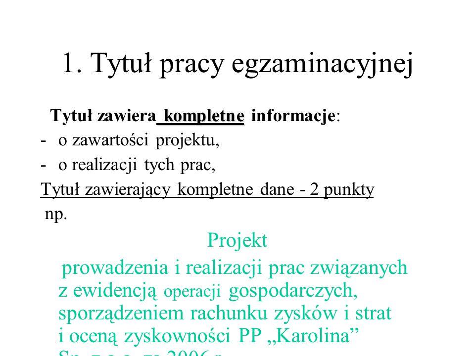 1. Tytuł pracy egzaminacyjnej kompletne Tytuł zawiera kompletne informacje: -o zawartości projektu, -o realizacji tych prac, Tytuł zawierający komplet