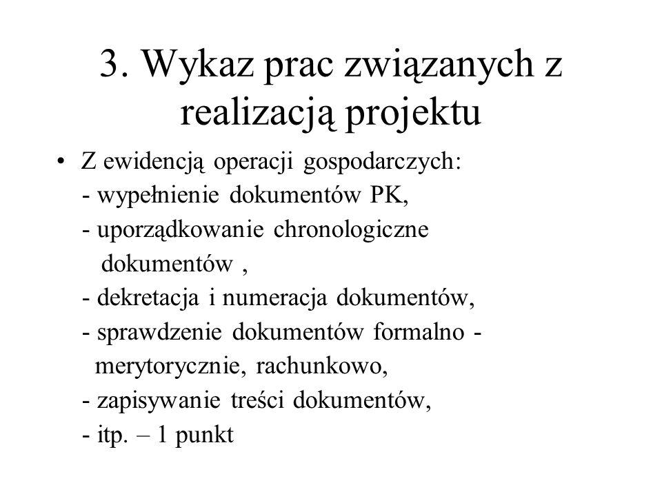 3. Wykaz prac związanych z realizacją projektu Z ewidencją operacji gospodarczych: - wypełnienie dokumentów PK, - uporządkowanie chronologiczne dokume