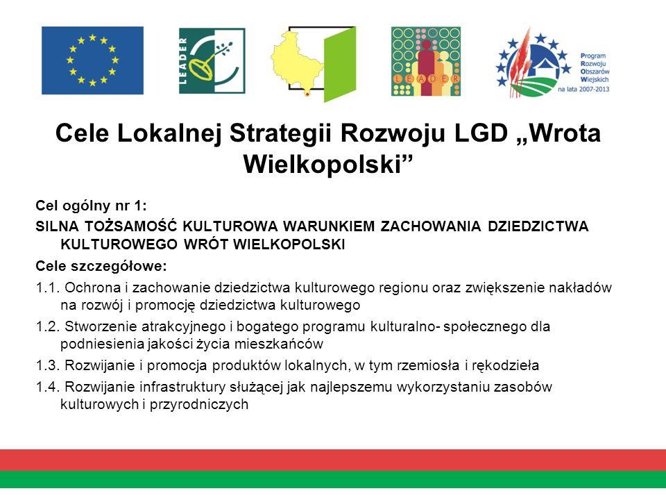 Cele Lokalnej Strategii Rozwoju LGD Wrota Wielkopolski Cel ogólny nr 1: SILNA TOŻSAMOŚĆ KULTUROWA WARUNKIEM ZACHOWANIA DZIEDZICTWA KULTUROWEGO WRÓT WI