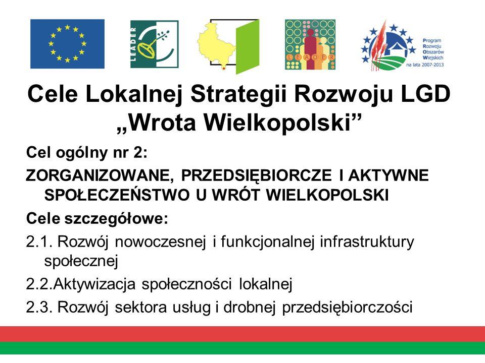 Cele Lokalnej Strategii Rozwoju LGD Wrota Wielkopolski Cel ogólny nr 2: ZORGANIZOWANE, PRZEDSIĘBIORCZE I AKTYWNE SPOŁECZEŃSTWO U WRÓT WIELKOPOLSKI Cel