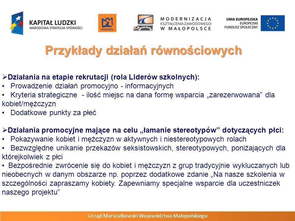 Przykłady działań równościowych Działania na etapie rekrutacji (rola Liderów szkolnych): Prowadzenie działań promocyjno - informacyjnych Kryteria stra
