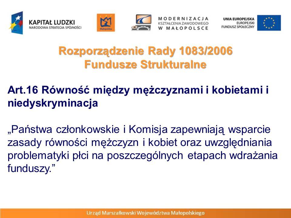 Art.16 Równość między mężczyznami i kobietami i niedyskryminacja Państwa członkowskie i Komisja zapewniają wsparcie zasady równości mężczyzn i kobiet