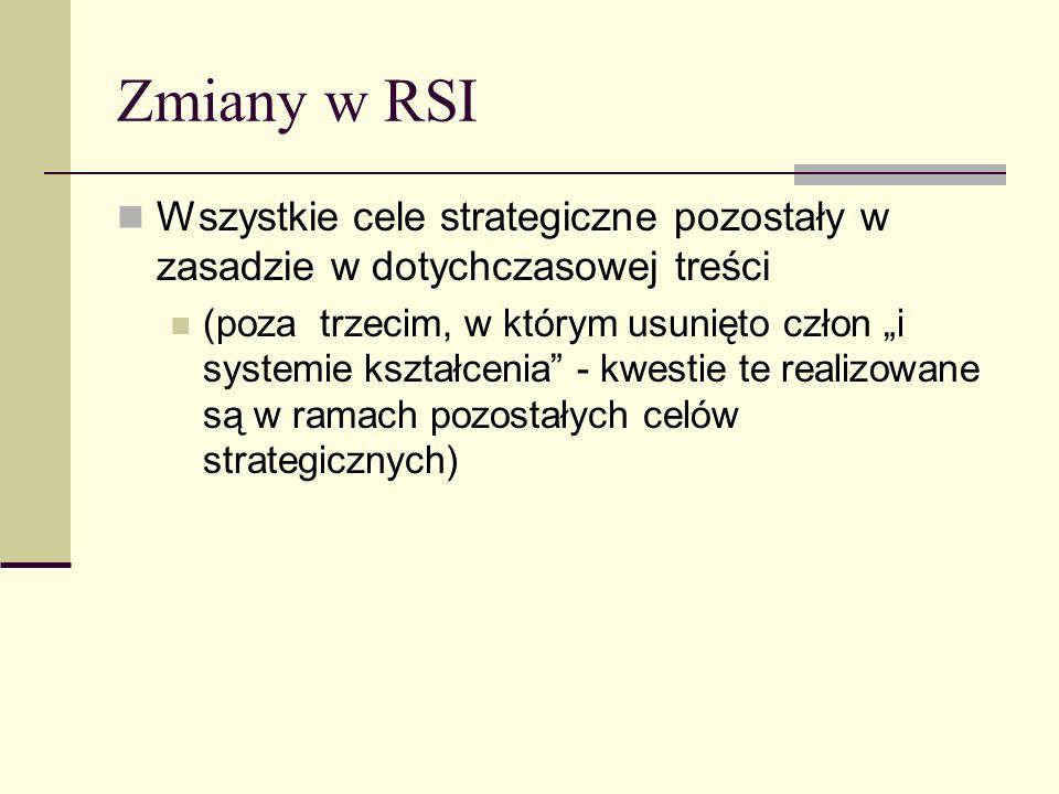 Zmiany w RSI Wszystkie cele strategiczne pozostały w zasadzie w dotychczasowej treści (poza trzecim, w którym usunięto człon i systemie kształcenia - kwestie te realizowane są w ramach pozostałych celów strategicznych)
