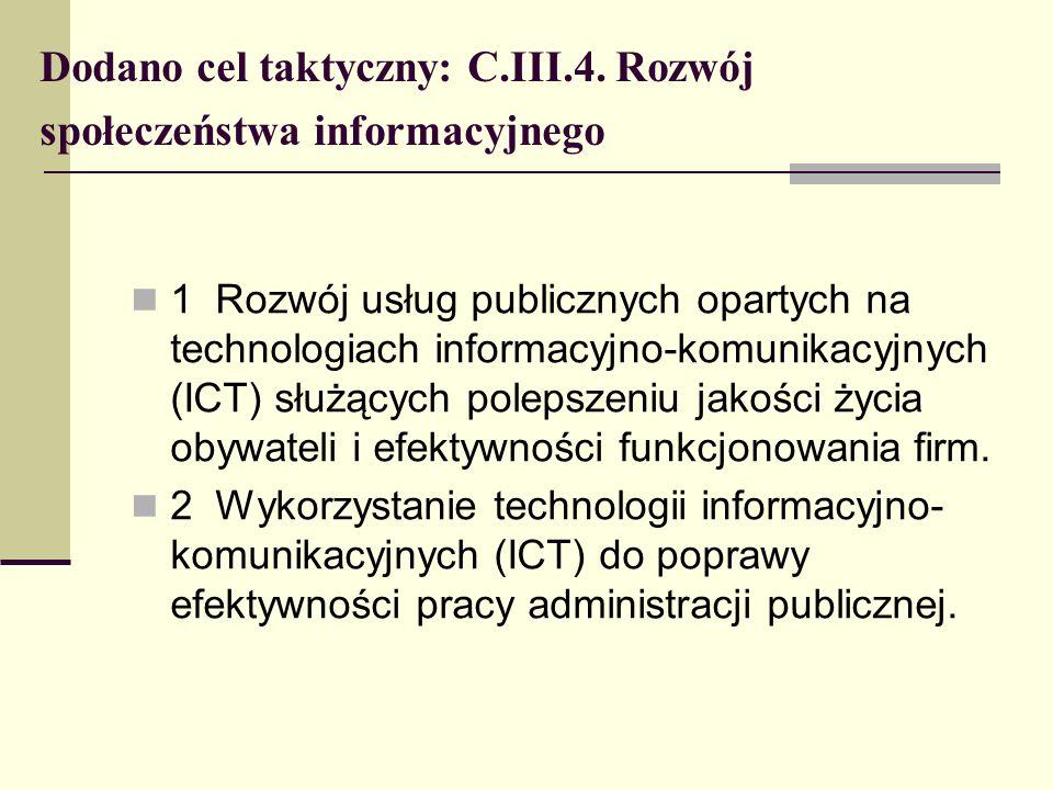Dodano cel taktyczny: C.III.4. Rozwój społeczeństwa informacyjnego 1 Rozwój usług publicznych opartych na technologiach informacyjno-komunikacyjnych (