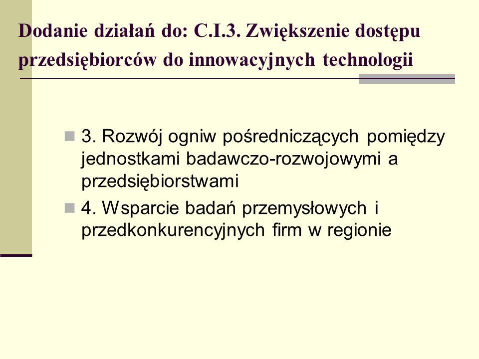Dodanie działań do: C.I.3. Zwiększenie dostępu przedsiębiorców do innowacyjnych technologii 3. Rozwój ogniw pośredniczących pomiędzy jednostkami badaw