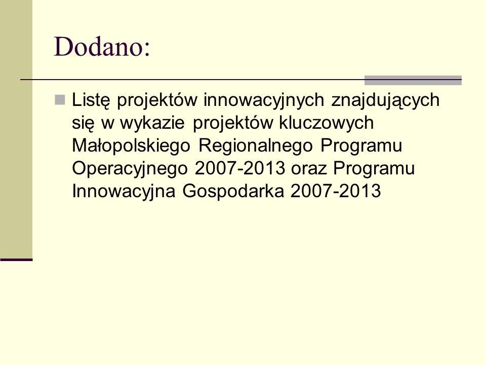 Dodano: Listę projektów innowacyjnych znajdujących się w wykazie projektów kluczowych Małopolskiego Regionalnego Programu Operacyjnego 2007-2013 oraz Programu Innowacyjna Gospodarka 2007-2013