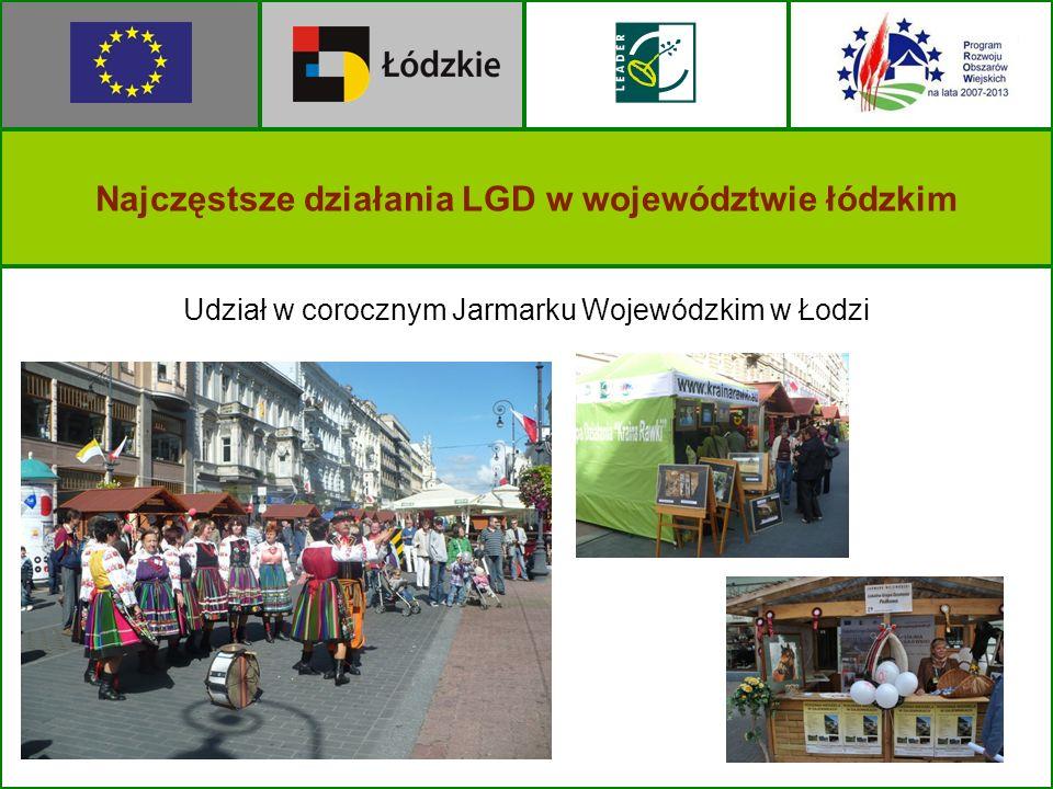 Najczęstsze działania LGD w województwie łódzkim Udział w corocznym Jarmarku Wojewódzkim w Łodzi