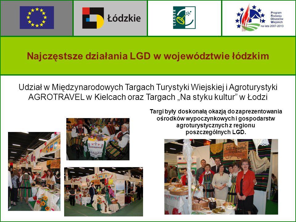 Najczęstsze działania LGD w województwie łódzkim Udział w Międzynarodowych Targach Turystyki Wiejskiej i Agroturystyki AGROTRAVEL w Kielcach oraz Targ
