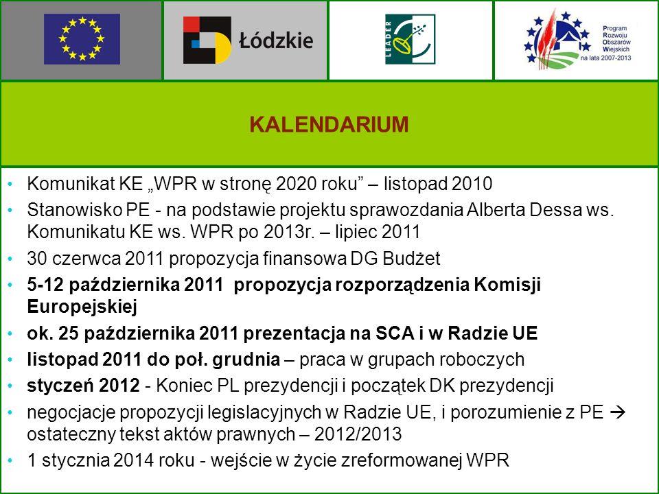 KALENDARIUM Komunikat KE WPR w stronę 2020 roku – listopad 2010 Stanowisko PE - na podstawie projektu sprawozdania Alberta Dessa ws. Komunikatu KE ws.
