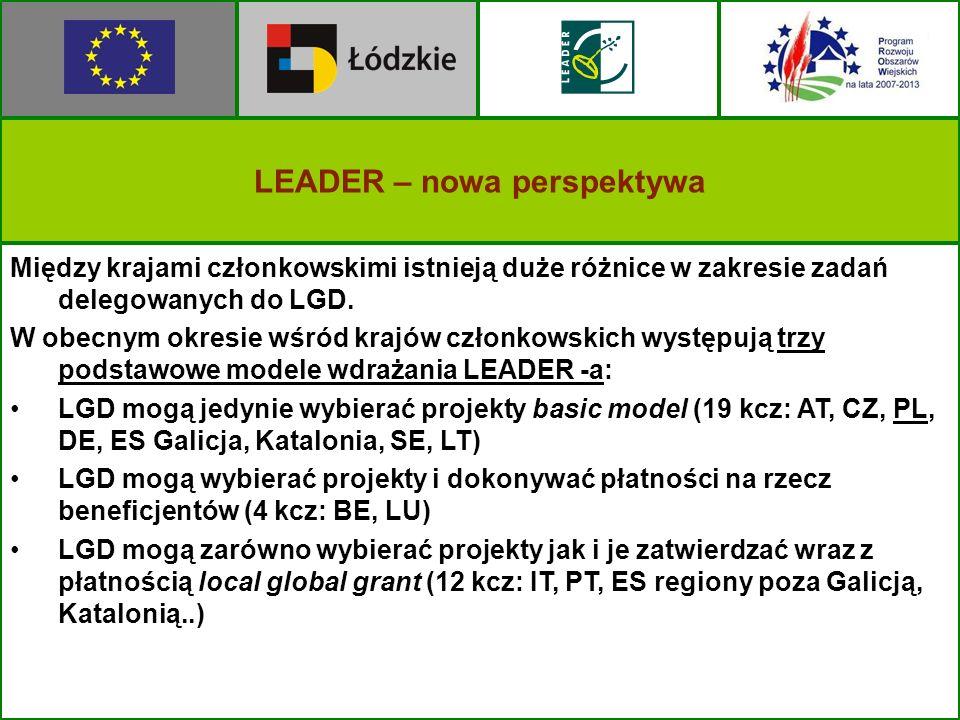 LEADER – nowa perspektywa Między krajami członkowskimi istnieją duże różnice w zakresie zadań delegowanych do LGD. W obecnym okresie wśród krajów czło
