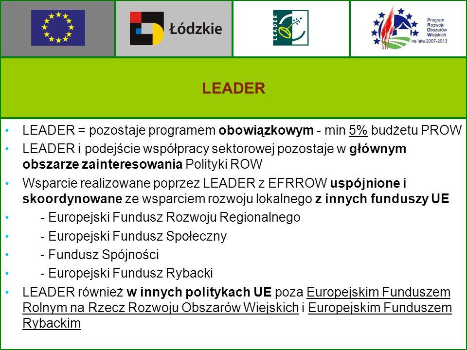 LEADER LEADER = pozostaje programem obowiązkowym - min 5% budżetu PROW LEADER i podejście współpracy sektorowej pozostaje w głównym obszarze zainteres