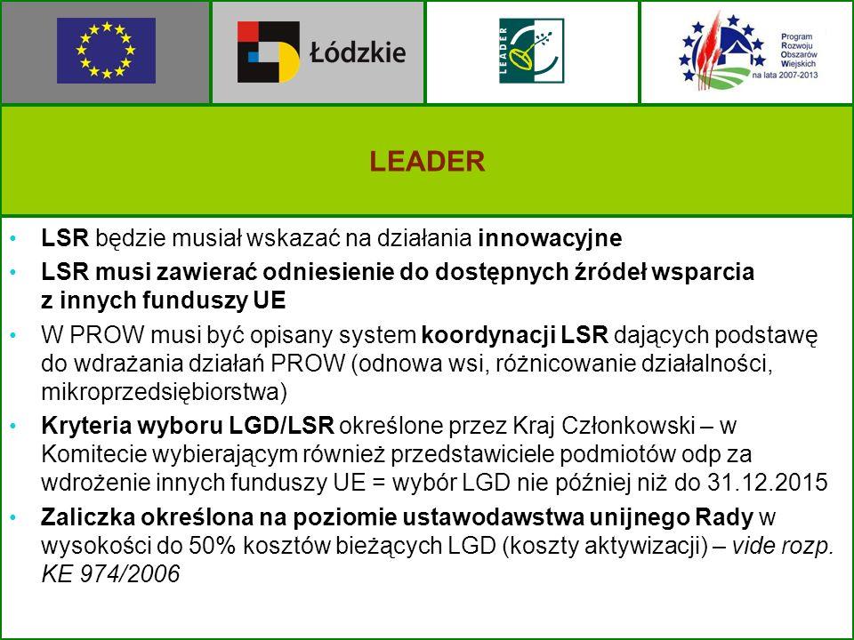 LEADER LSR będzie musiał wskazać na działania innowacyjne LSR musi zawierać odniesienie do dostępnych źródeł wsparcia z innych funduszy UE W PROW musi