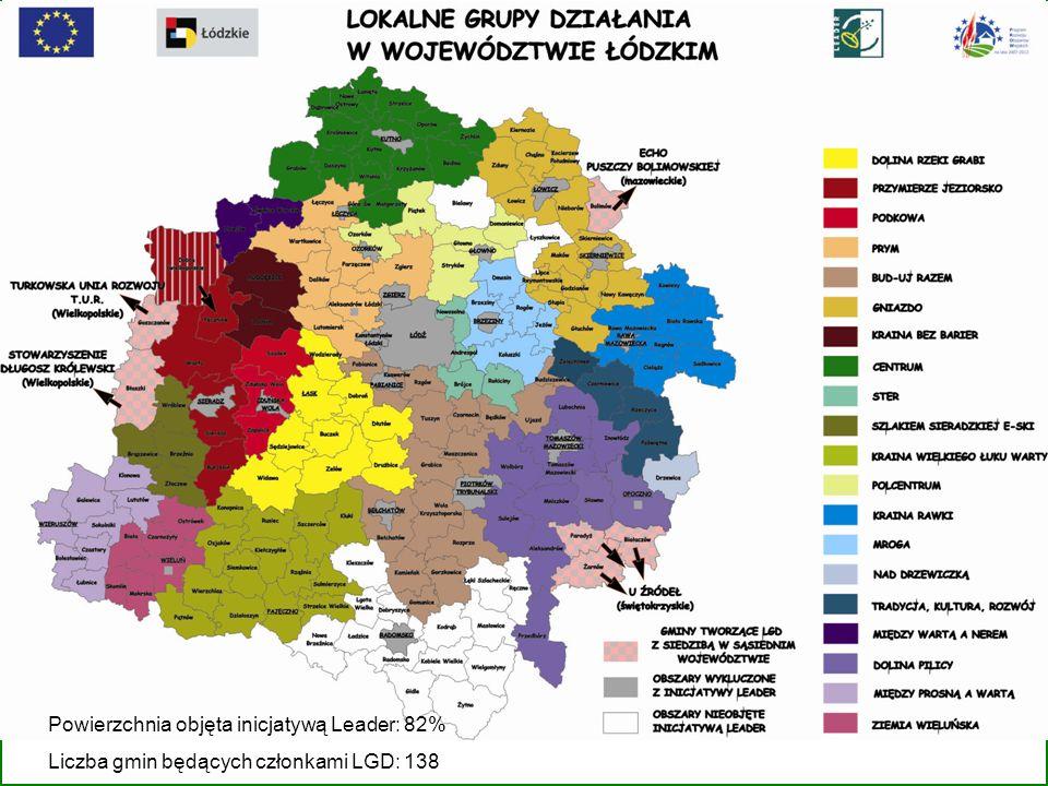 Powierzchnia objęta inicjatywą Leader: 82% Liczba gmin będących członkami LGD: 138