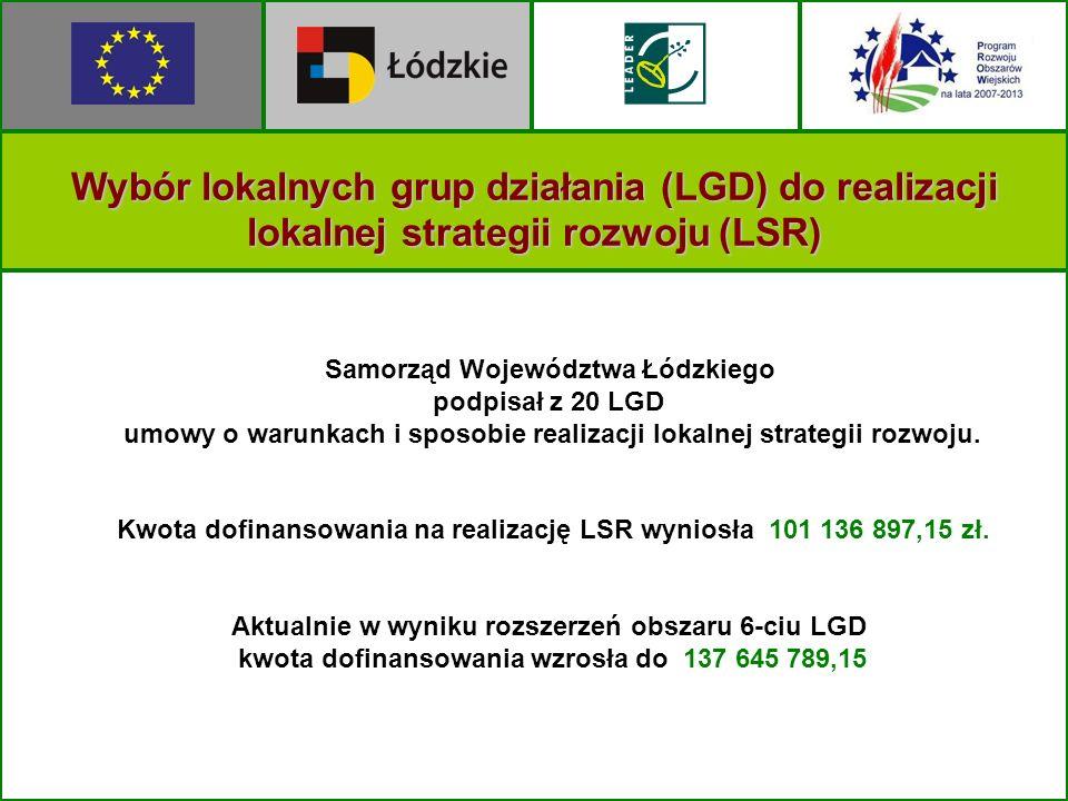 Wybór lokalnych grup działania (LGD) do realizacji lokalnej strategii rozwoju (LSR) Samorząd Województwa Łódzkiego podpisał z 20 LGD umowy o warunkach