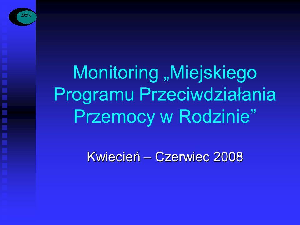 Monitoring Miejskiego Programu Przeciwdziałania Przemocy w Rodzinie Kwiecień – Czerwiec 2008