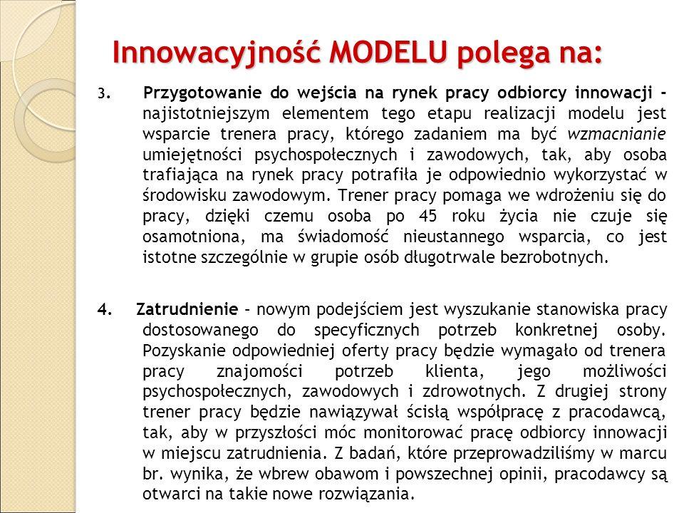 Innowacyjność MODELU polega na: 3. Przygotowanie do wejścia na rynek pracy odbiorcy innowacji - najistotniejszym elementem tego etapu realizacji model