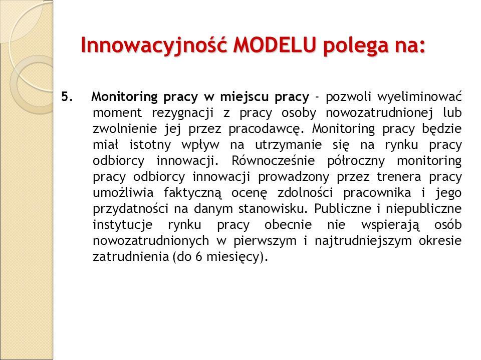 Innowacyjność MODELU polega na: 5. Monitoring pracy w miejscu pracy - pozwoli wyeliminować moment rezygnacji z pracy osoby nowozatrudnionej lub zwolni