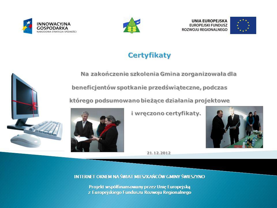 Certyfikaty Na zakończenie szkolenia Gmina zorganizowała dla beneficjentów spotkanie przedświąteczne, podczas którego podsumowano bieżące działania pr