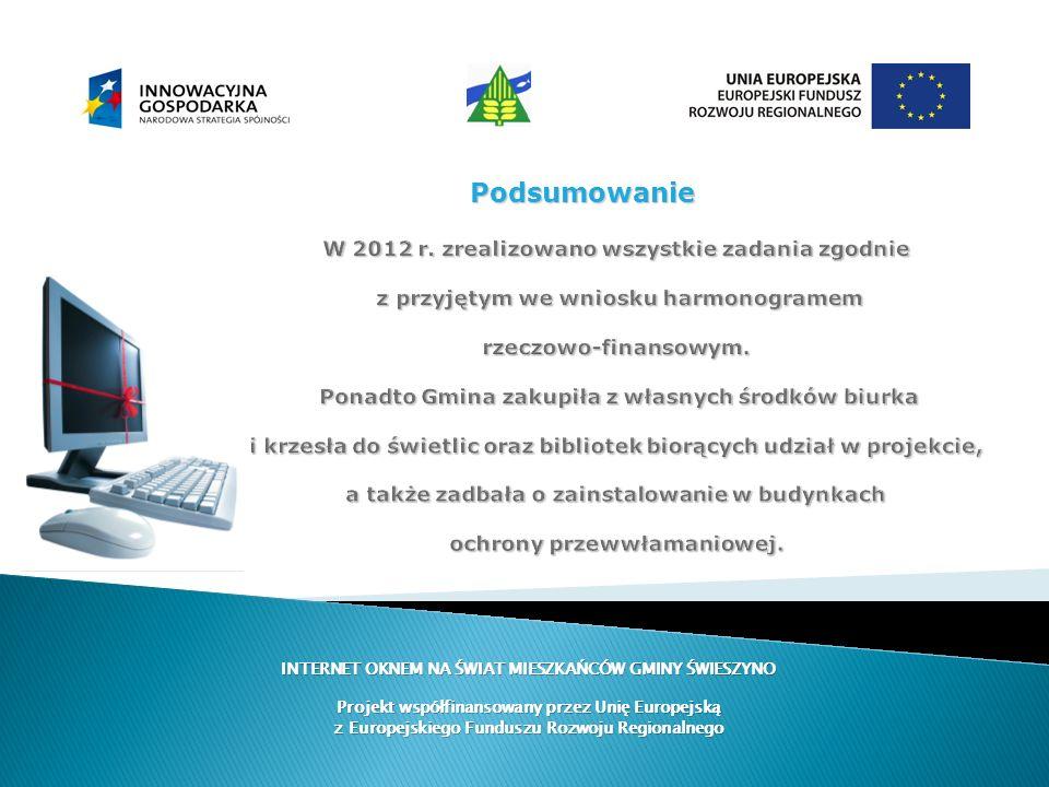 W 2012 r. zrealizowano wszystkie zadania zgodnie z przyjętym we wniosku harmonogramem rzeczowo-finansowym. Ponadto Gmina zakupiła z własnych środków b