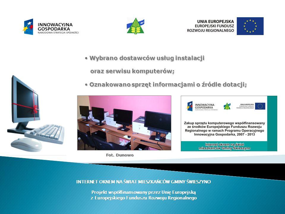 INTERNET OKNEM NA ŚWIAT MIESZKAŃCÓW GMINY ŚWIESZYNO Projekt współfinansowany przez Unię Europejską z Europejskiego Funduszu Rozwoju Regionalnego Wybra