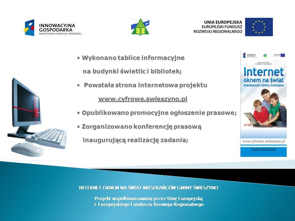 INTERNET OKNEM NA ŚWIAT MIESZKAŃCÓW GMINY ŚWIESZYNO Projekt współfinansowany przez Unię Europejską z Europejskiego Funduszu Rozwoju Regionalnego Wykon