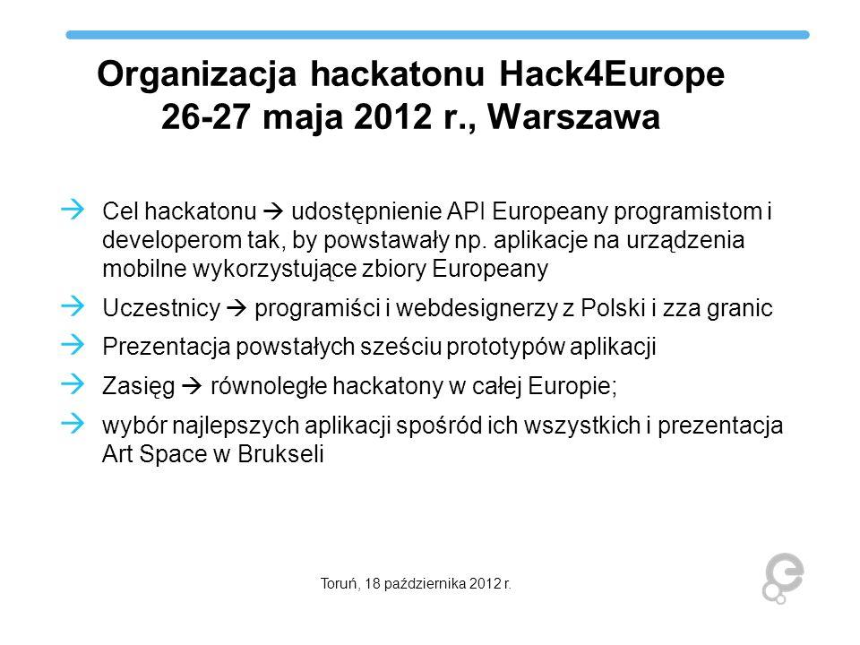 Organizacja hackatonu Hack4Europe 26-27 maja 2012 r., Warszawa Cel hackatonu udostępnienie API Europeany programistom i developerom tak, by powstawały
