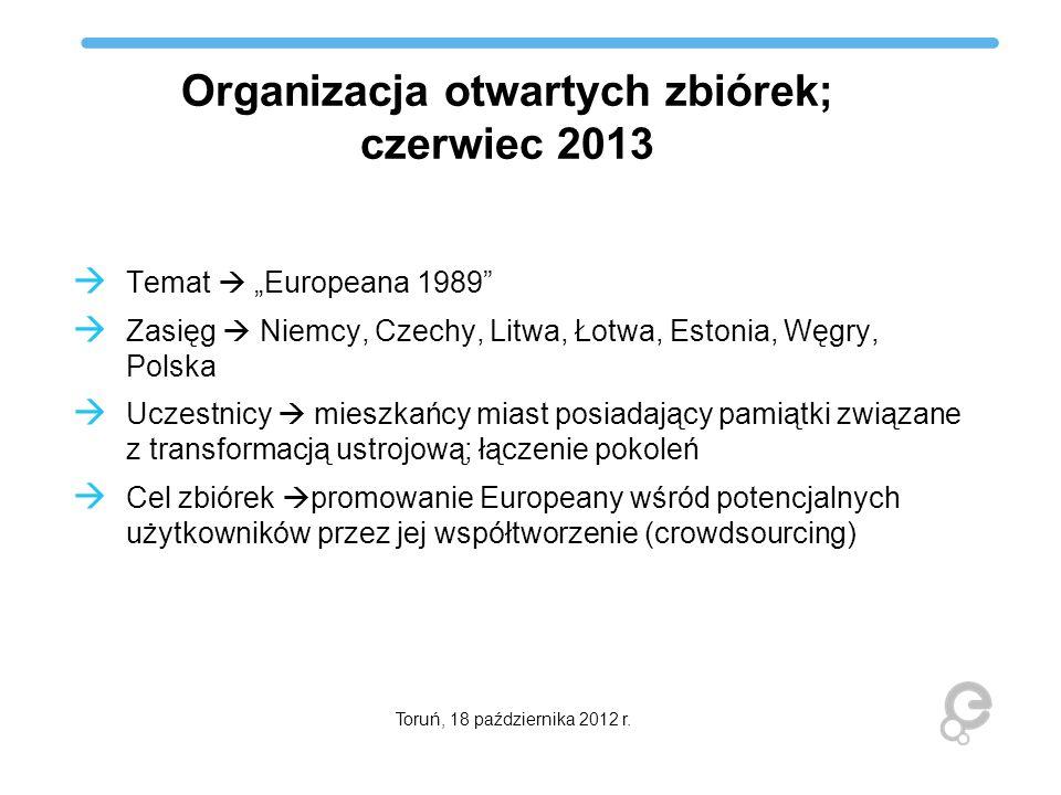 Organizacja otwartych zbiórek; czerwiec 2013 Temat Europeana 1989 Zasięg Niemcy, Czechy, Litwa, Łotwa, Estonia, Węgry, Polska Uczestnicy mieszkańcy mi