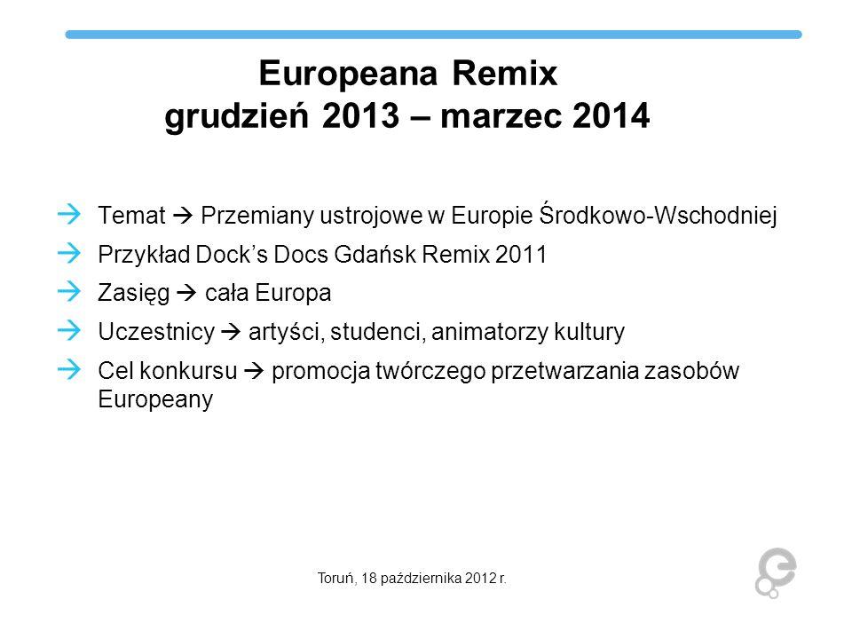 Europeana Remix grudzień 2013 – marzec 2014 Temat Przemiany ustrojowe w Europie Środkowo-Wschodniej Przykład Docks Docs Gdańsk Remix 2011 Zasięg cała
