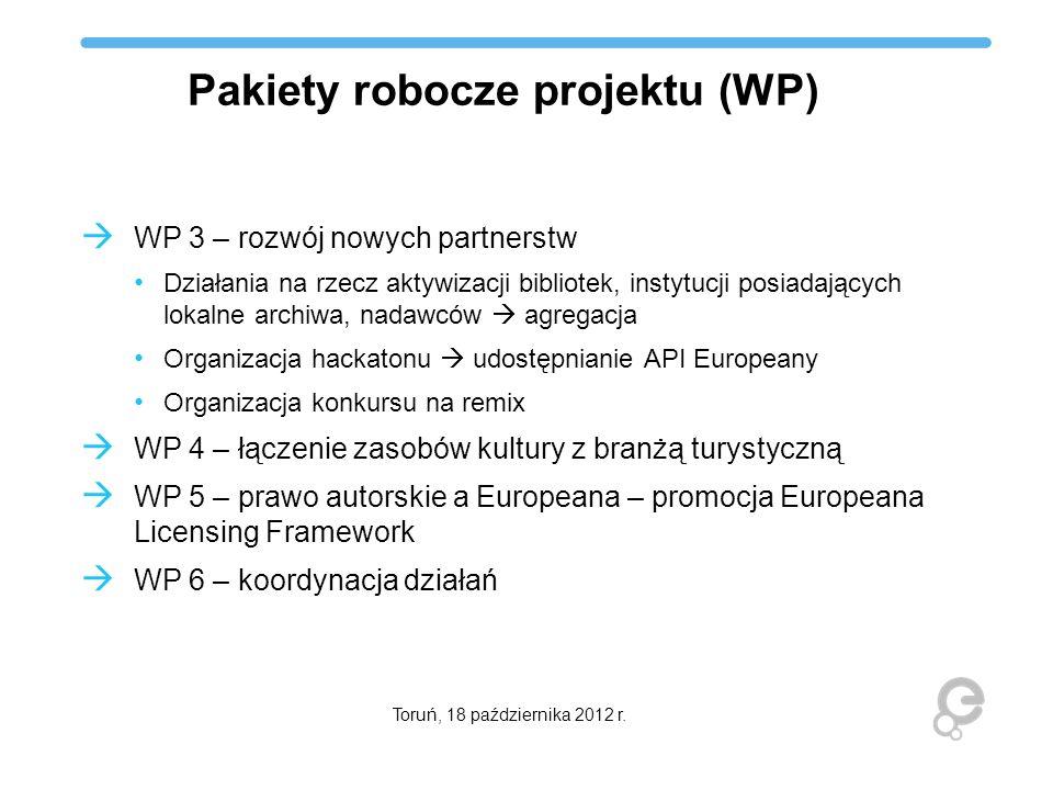 Pakiety robocze projektu (WP) WP 3 – rozwój nowych partnerstw Działania na rzecz aktywizacji bibliotek, instytucji posiadających lokalne archiwa, nada