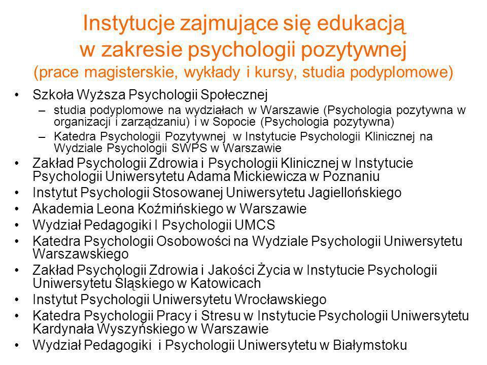 Instytucje zajmujące się edukacją w zakresie psychologii pozytywnej (prace magisterskie, wykłady i kursy, studia podyplomowe) Szkoła Wyższa Psychologi
